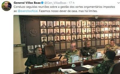 Comandante critica cortes no orçamento do Exército