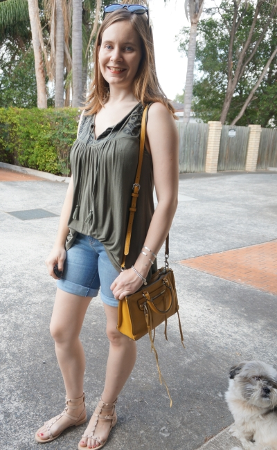 khaki tank, bermuda denim shorts, mustard yellow micro regan bag | Away From Blue