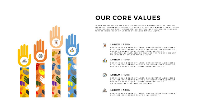 Free PowerPoint Templates for Our Values Presentation with 4 Hands and icons option