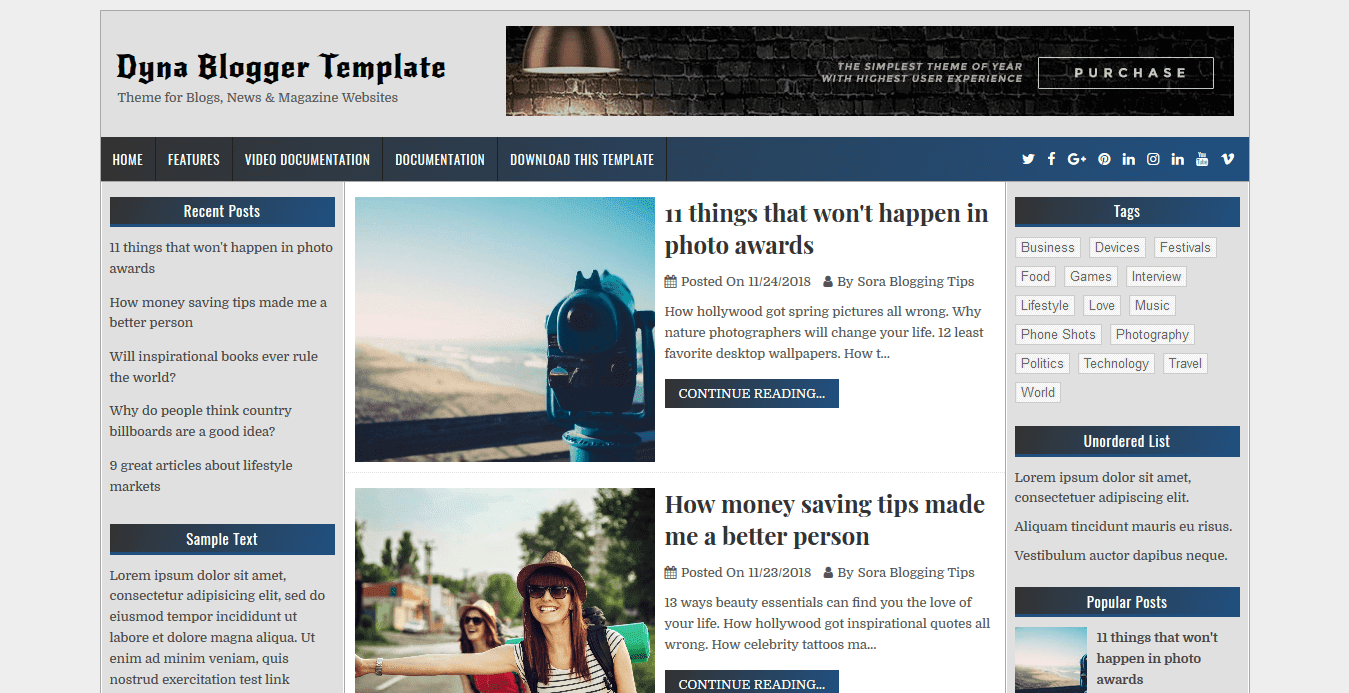 Dyna blogger template is a three column beautifully designed hand crafted blogger template that has the amazing capability to establish an attractive and
