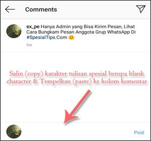Membuat Komentar Kosong Di Instagram