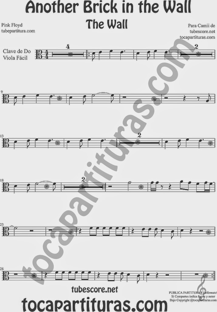 PARTITURA FÁCIL EN CLAVE DE Do The Wall Partitura de Viola Another Brick in the Wall Music Scores
