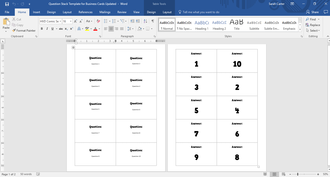 template for avery 8873 business staffday