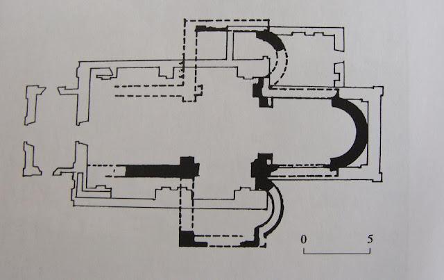Kościół pod wezwaniem Wniebowzięcia NMP w Zawichoście - rycina świątyni z XI w. znajdujące się w podziemiach obecnego kościoła