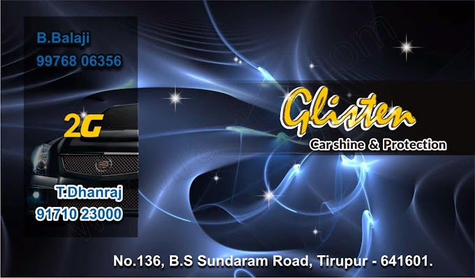 Visiting Card Design :::Glister Carshine & Protection TIRUPUR:::