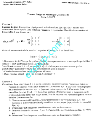 exercices corrigés Physique Quantique smp s5 FSR Rabat