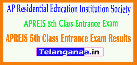 APREIS 5th Class AP Residential Education Institution Society Entrance Exam Results 2018