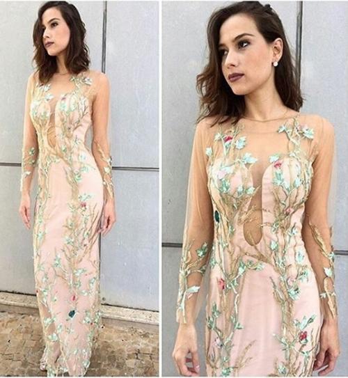 vestido de festa rosa floral