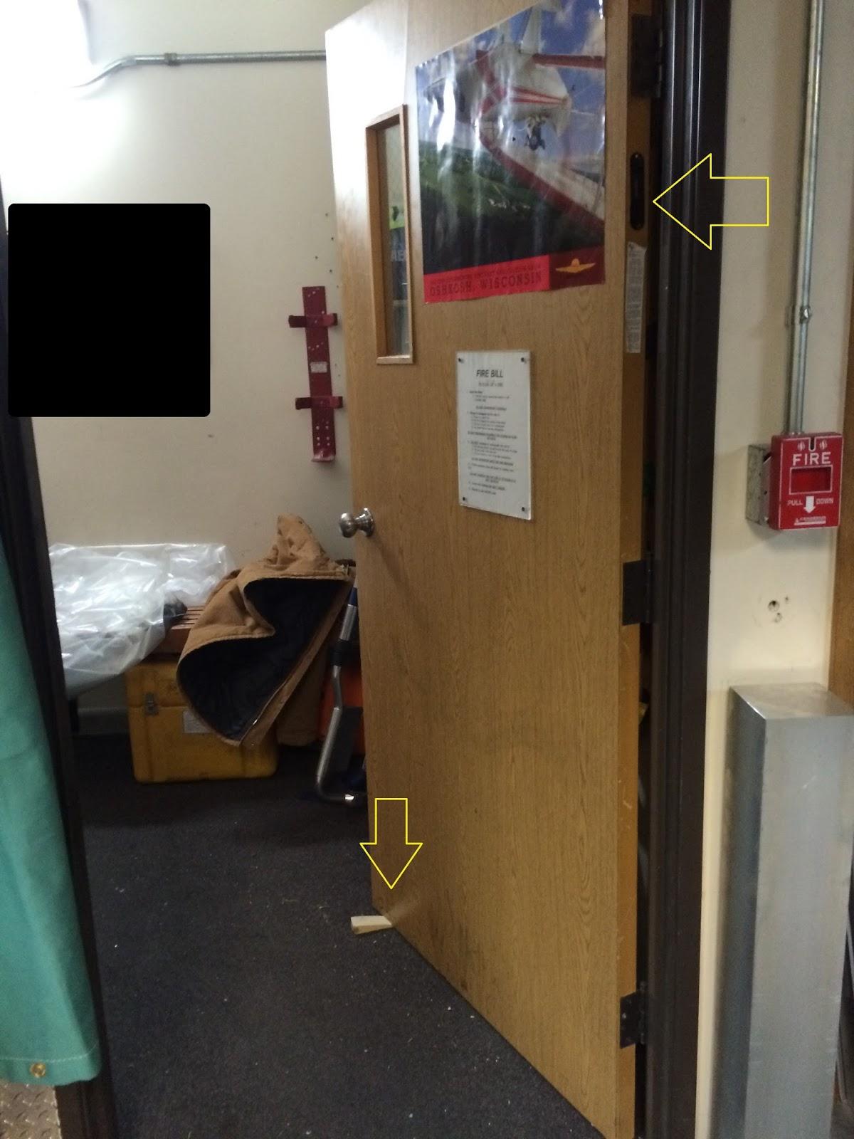 Below a photo shows a propped open fire door & Fire Protection Deficiencies: Doors