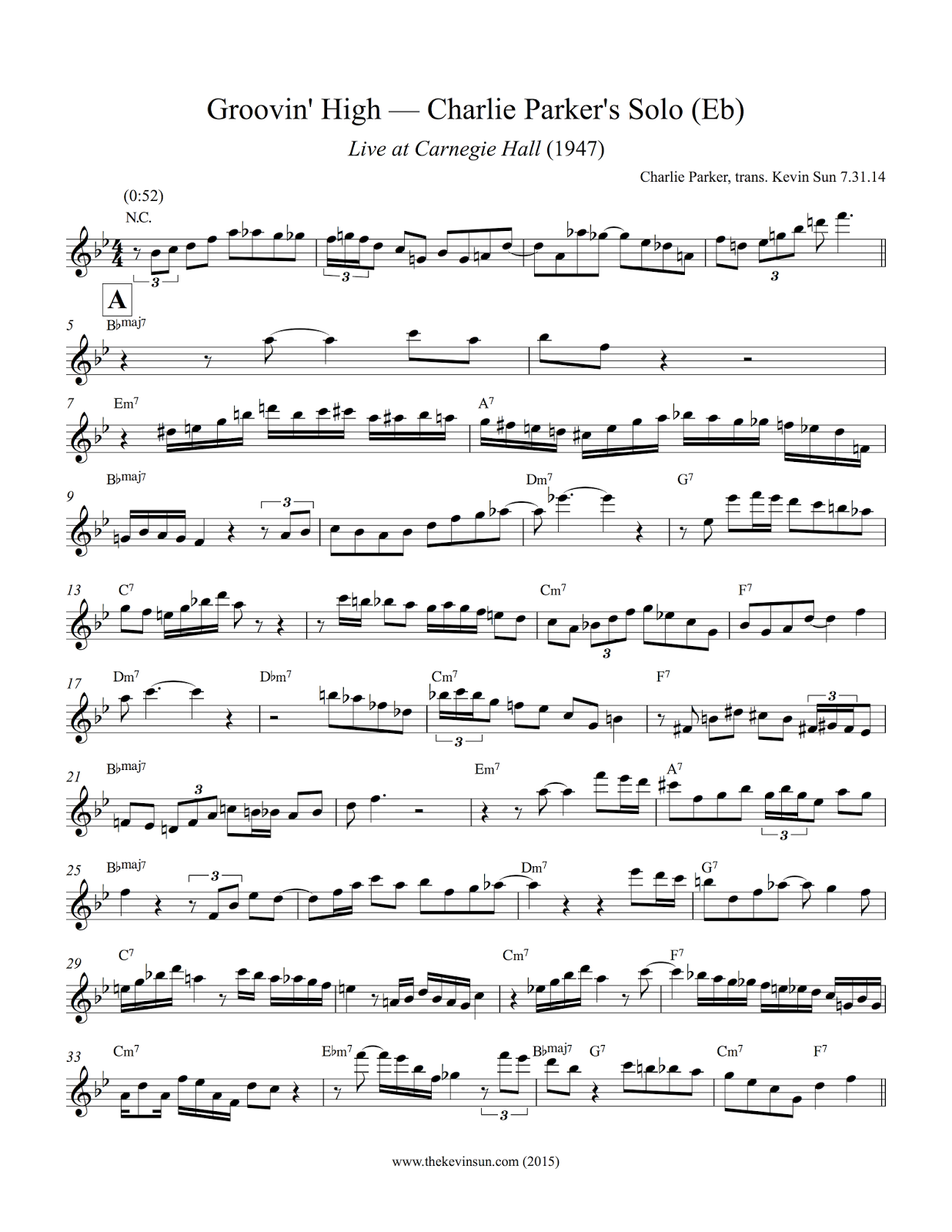 Groovin' High — Charlie Parker Solo Transcription (Eb) Page 1