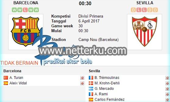 Prediksi Skor Bola Barcelona vs Sevilla 6 April 2017 - Netterku.com
