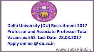 Delhi University Recruitment 2017
