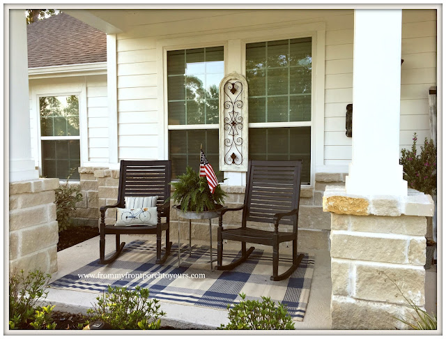 Suburban Farmhouse Front Porch-Grandin Road Rocking Chairs-Plaid Outdoor Rug-Porch Decor-From My Front Porch To Yours