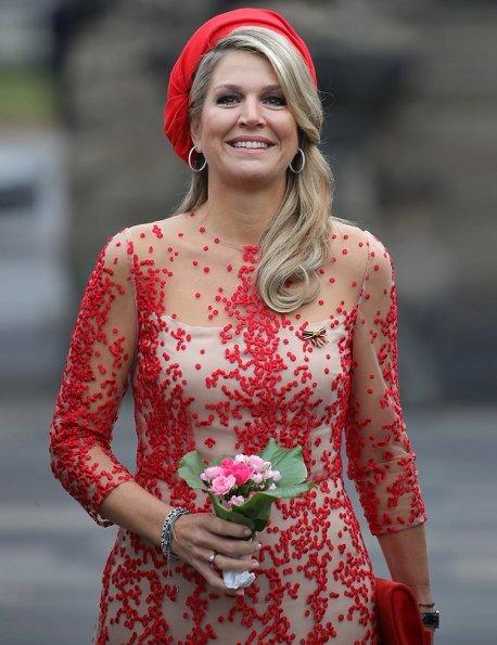 Queen Maxima wore Natan dress and Natan pumps. Governor of Rhineland-Palatinate Malu Dreyer with her Husband Klaus Jensen