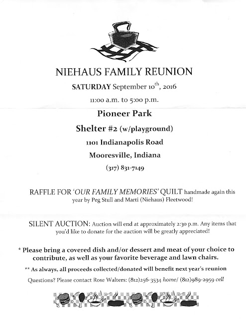 2016 Niehaus Family Reunion Announcement, 9/10/16