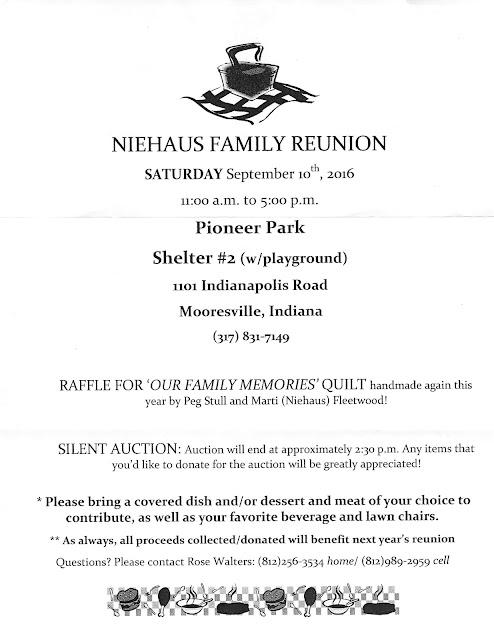 2016 Niehaus Family Reunion Announcement, 9/10/16
