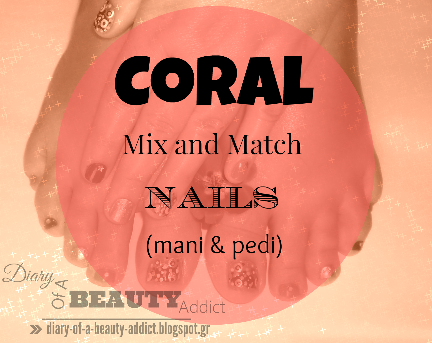 Coral Mix and Match Nails(mani & pedi)