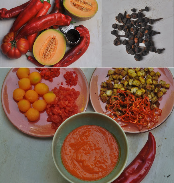 gazpacho mal anders paprika melone chili kubiena kochblog. Black Bedroom Furniture Sets. Home Design Ideas