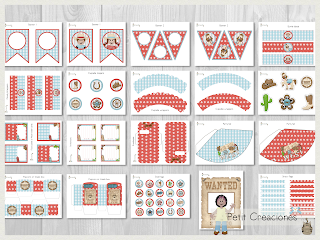 Printable Birthday PARTY KIT Far West, Party pack, DIY, Instant download, Birthday Decorations, Gift box, Party idea
