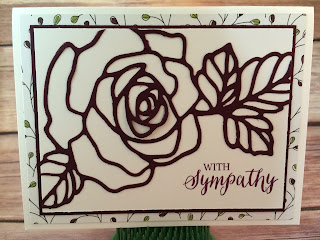 This Blackberry Bliss sympathy card uses Stampin' Up!'s: Rose Garden Thinlits and Rose Wonder Stamp Set, Wildflower Fields Sale a Bration Designer Paper, and the Fine Tip Glue Pen!  www.stampwithjennifer.blogspot.com