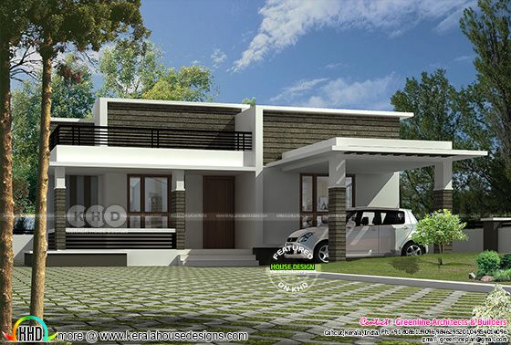 Flat roof 1287 sq-ft single floor home
