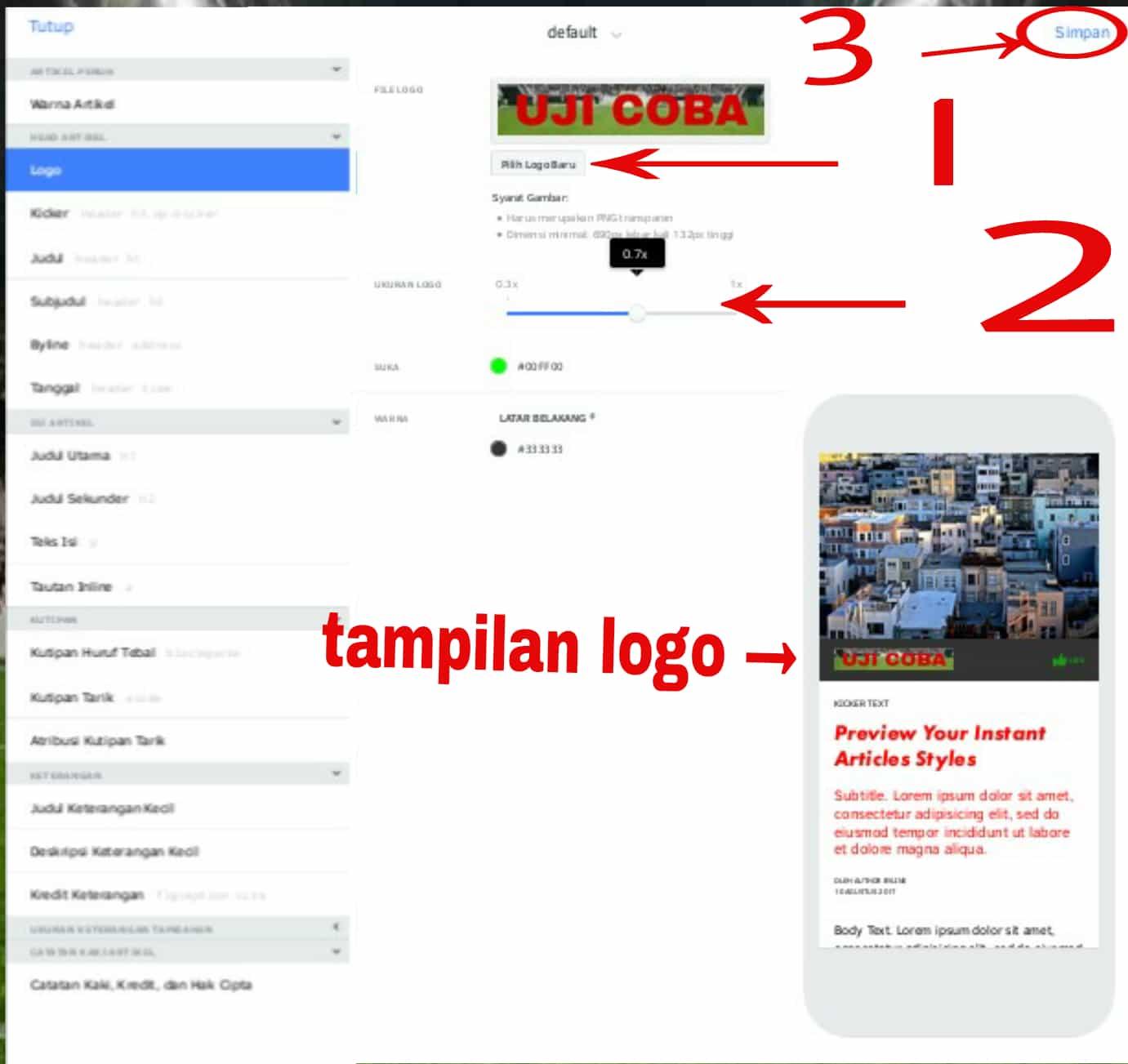 cara membuat logo instan artikel facebook