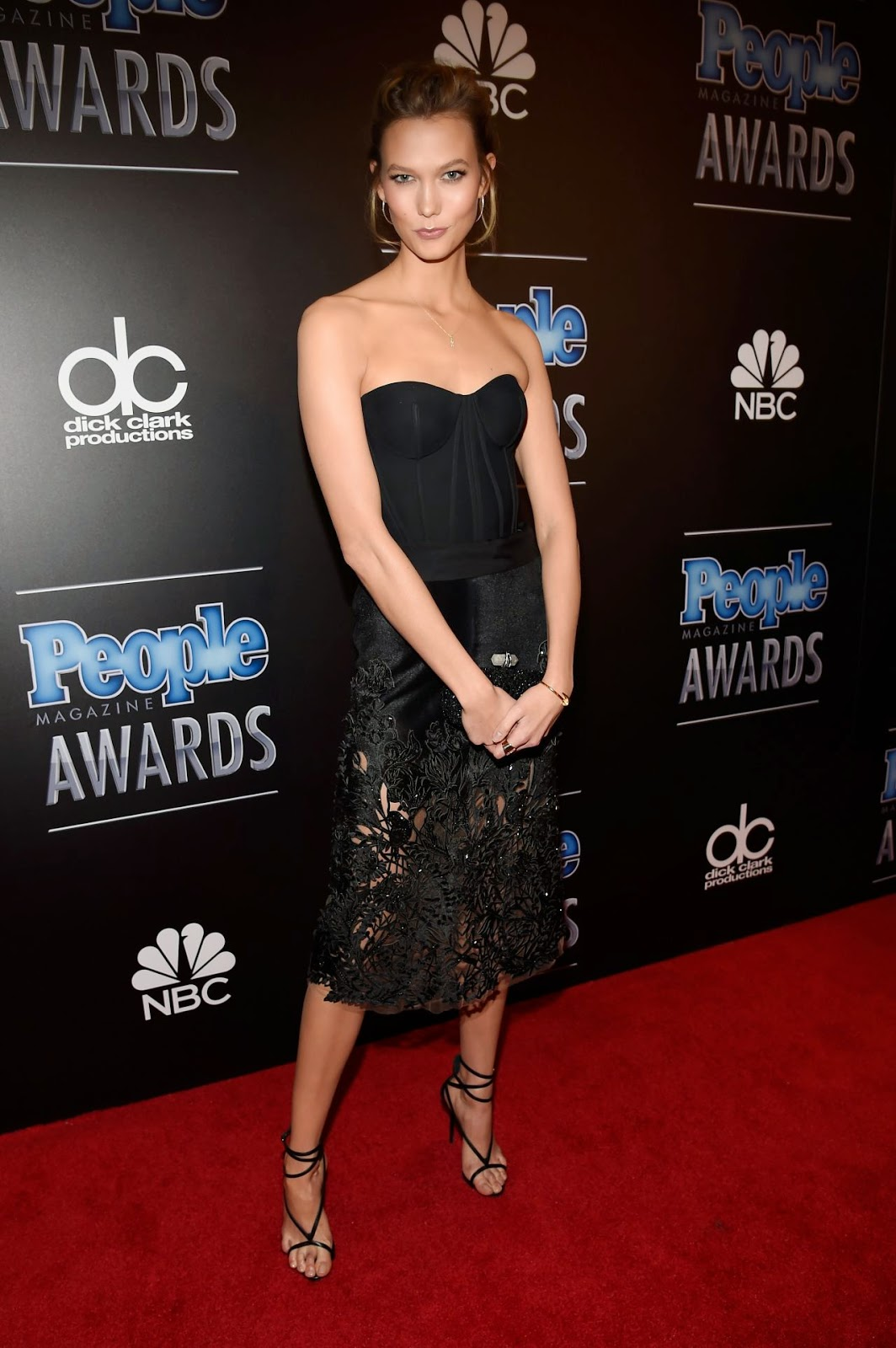 Karlie Kloss in a strapless look at the 2014 People Magazine Awards
