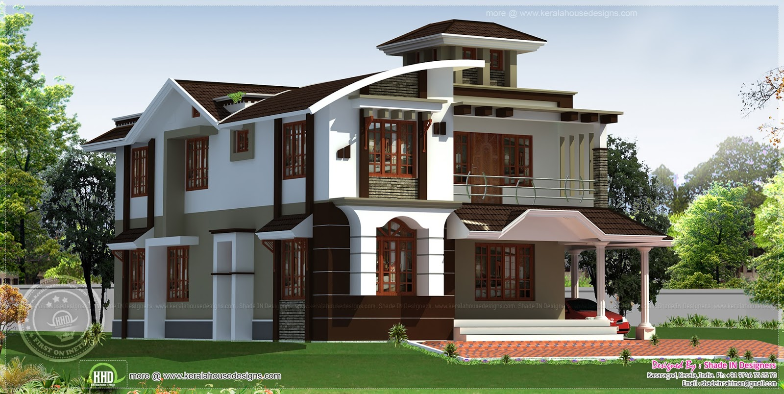 254 Square Meter 4 Bedroom House With Tower Kerala Home Design