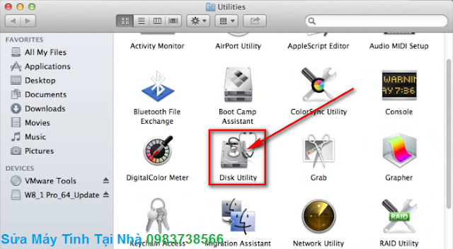 Chọn Disk Utility