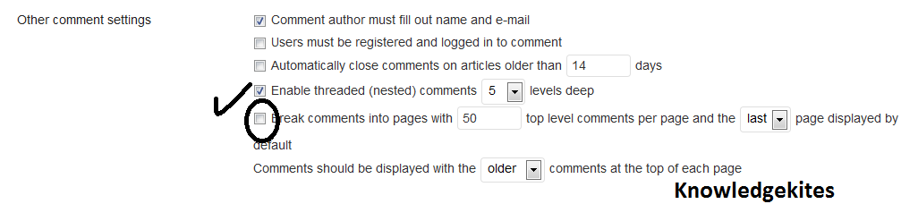 Wordpress basic settings in comment format