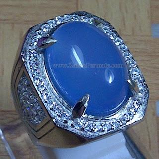 Cincin Batu Blue Chalcedony + Memo - ZP 974