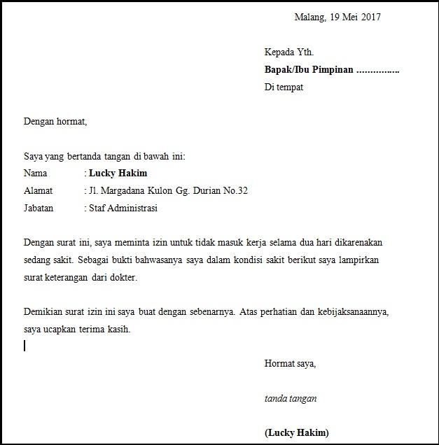surat izin tidak masuk kerja tulisan tangan