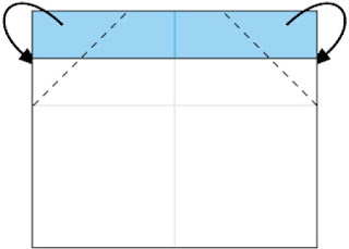 Bước 3: Gấp 2 góc giấy về phía mặt sau