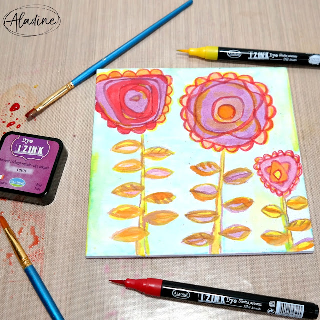How to Use Izink Dye Inpads to Color a Mixed Media Flower Canvas