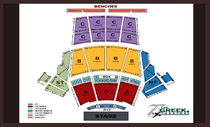 Seating Chart Greek Theatre - greek theater seating chart