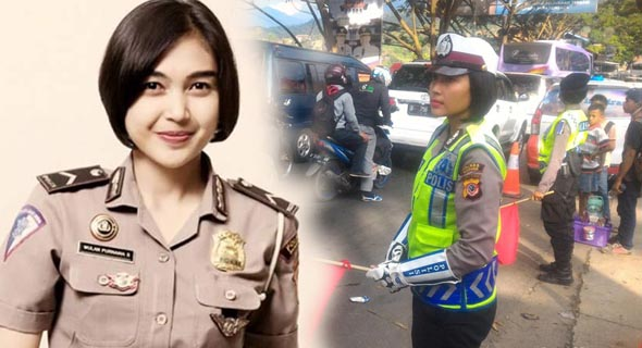Wow! Polisi Bripda Wulan, Pengatur Lalin Nagreg Bikin Gagal Fokus Pemudik