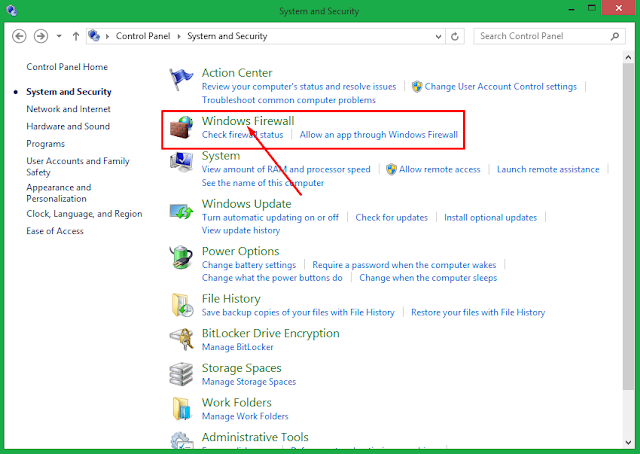 Cara matikan windows firewall windows 8.1