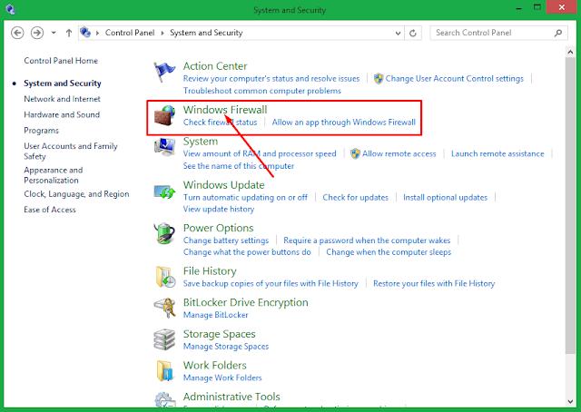 Cara matikan windows firewall windows 8.1