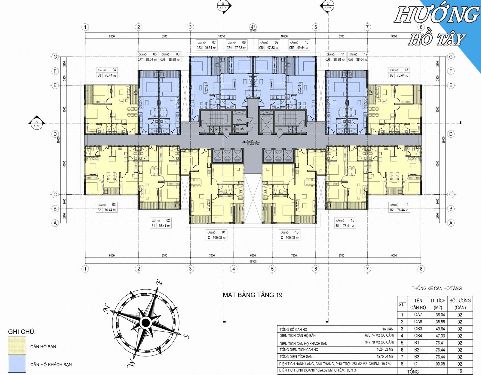 Mặt bằng tầng 19 chung cư D'eldorado Phú Thanh.