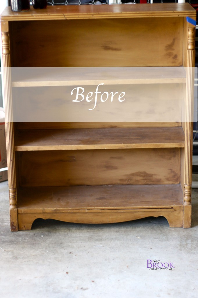 Stenciled Bookcase Annie Sloan French LinenPure White  BeingBrook