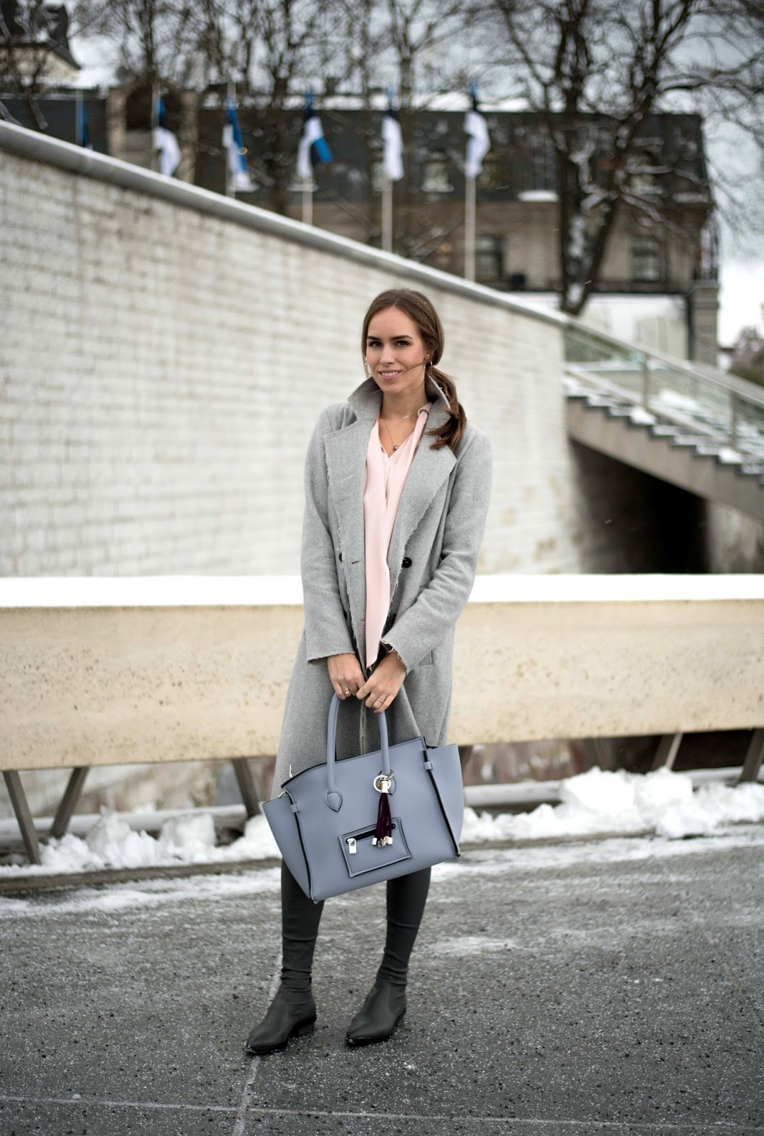 gray wool coat winter outfit over knee boots save my bag