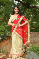 Akshara in Red Saree Golden Choli at LV Movie Makers Production No 1 Movie Opening ~  Exclusive 120.JPG