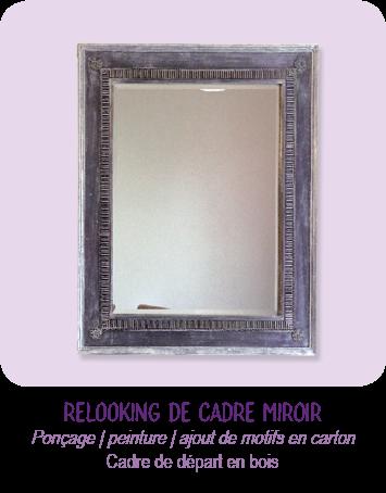 Relooking de cadre en bois démodé, avec collage de motifs en carton et peinture violet et argent. Un nouveau cadre miroir, plus moderne et original !