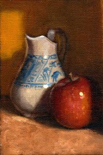 Oil painting of a blue and white porcelain jug beside a red apple.