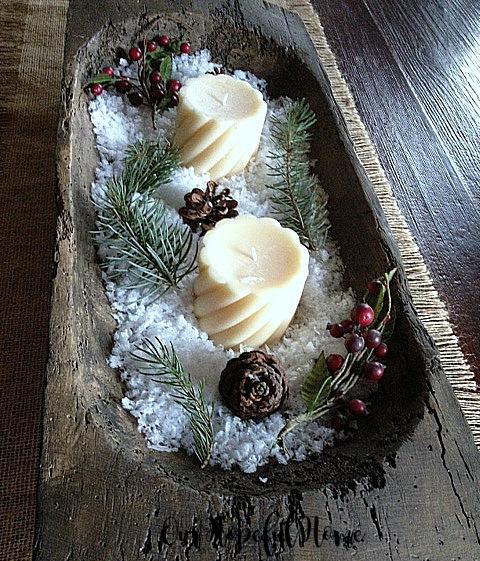 dough bowl faux snow candles rustic centerpiece