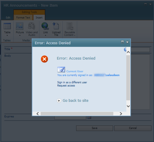sharepoint 2010 access denied on inserting picture