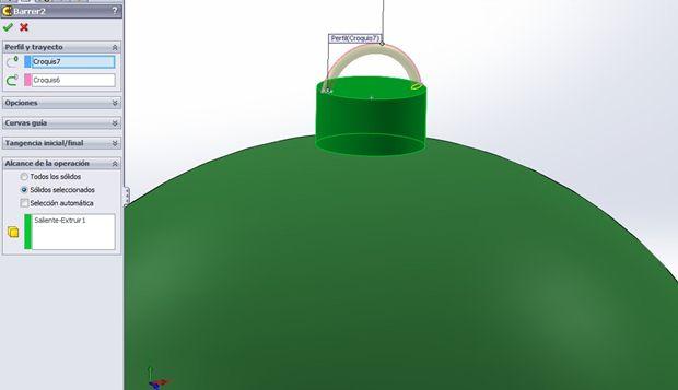 barrido bola de navidad con solidworks