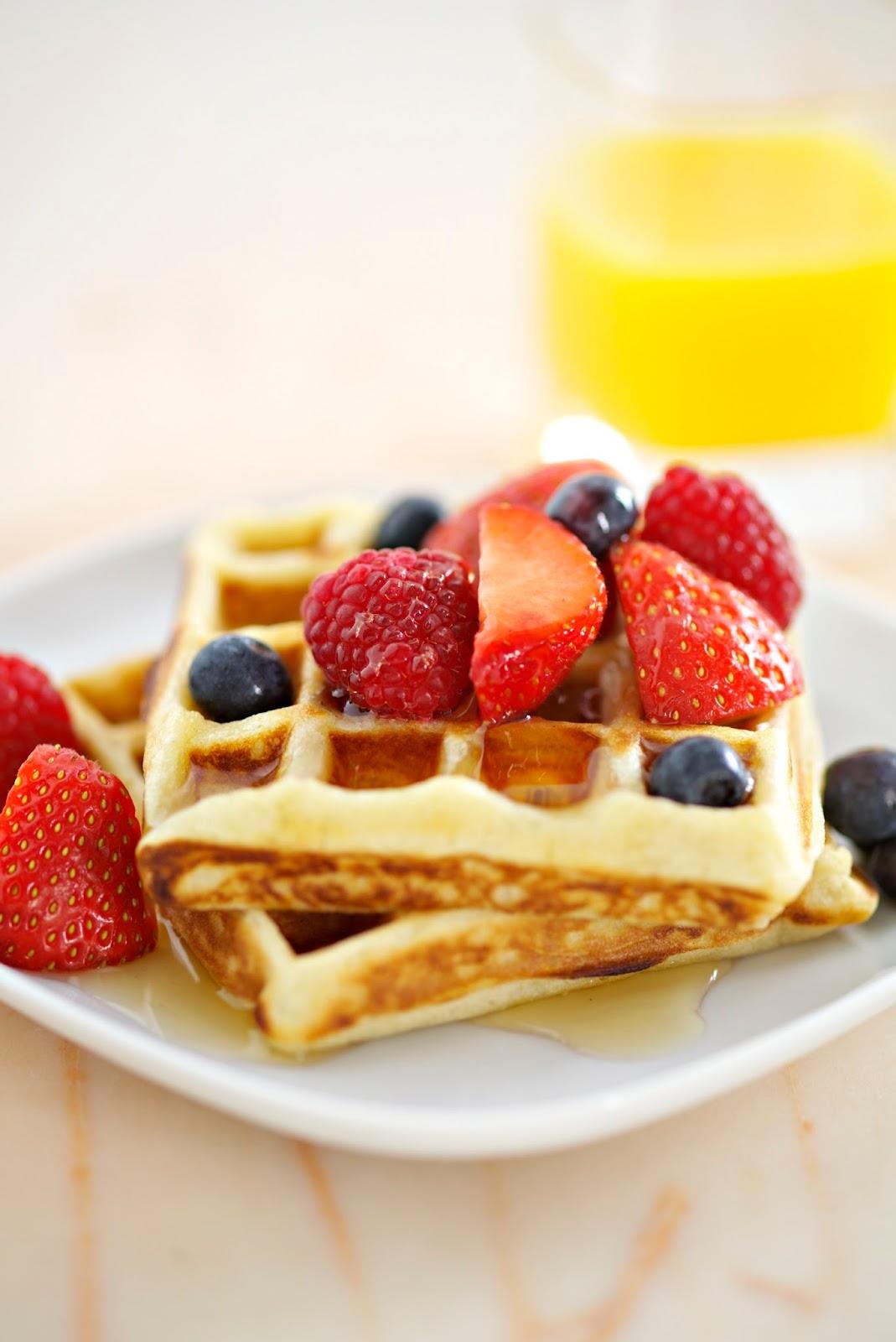 Waffles With Berries And Greek Honey Yogurt