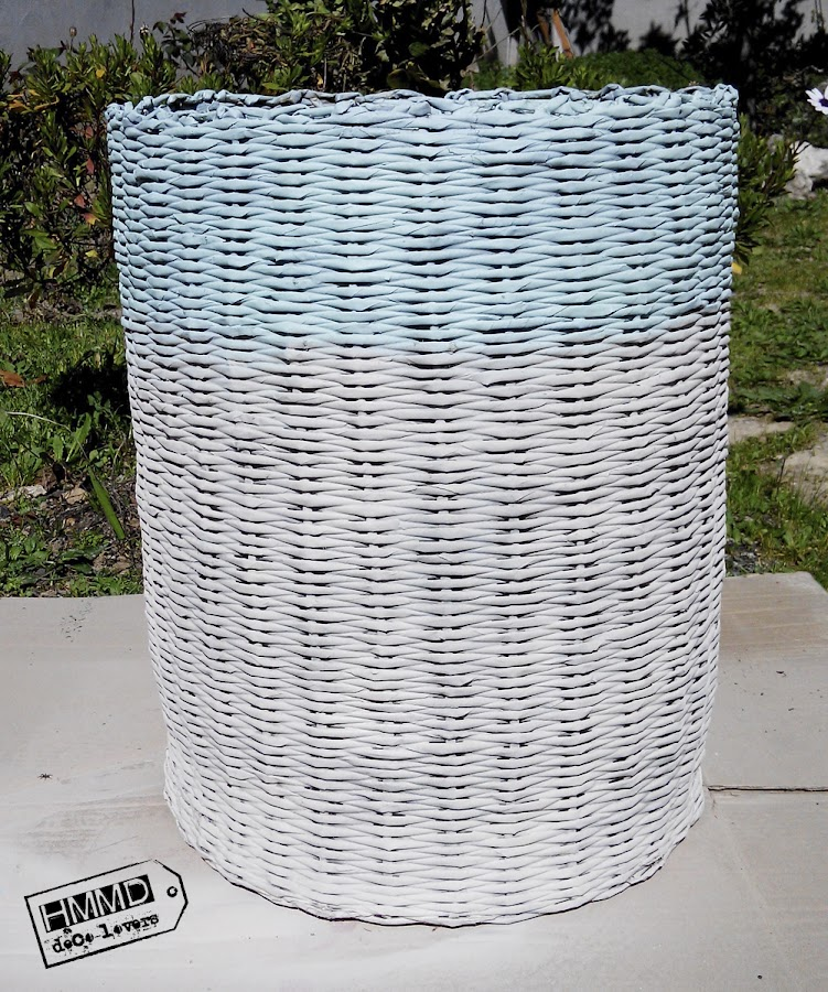 Cómo renovar un cesto by HMMD, Handmademaniadecor. DIY pintar con spray un cesto para ropa sucia. Modernizar un cesto viejo. How to renovate an old basket. DIY spray paint.