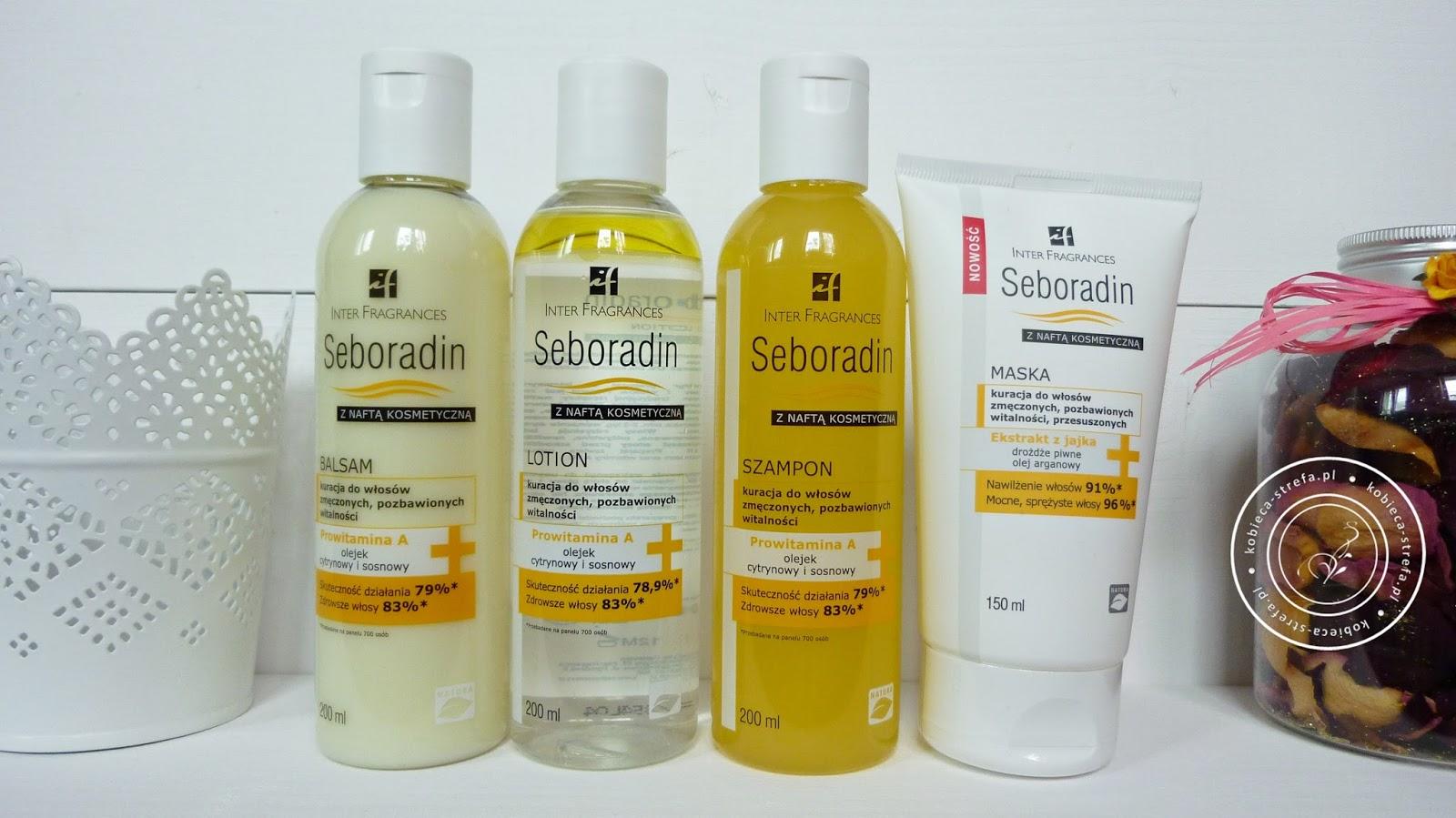 Seboradinowa rodzina z naftą kosmetyczną - lotion, balsam, szampon z nafta kosmetyczną